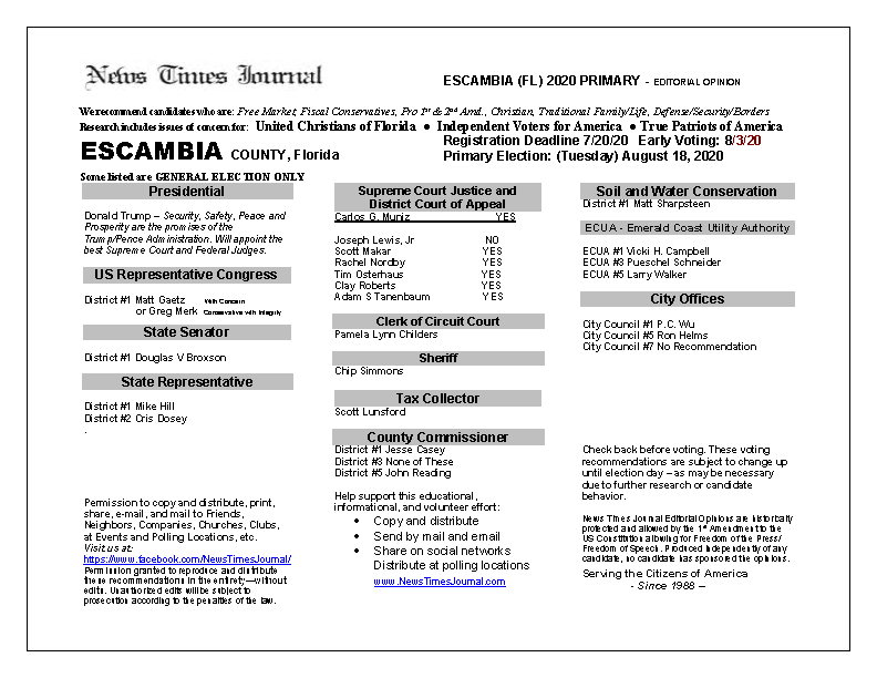 2020 FL Escambia Primary