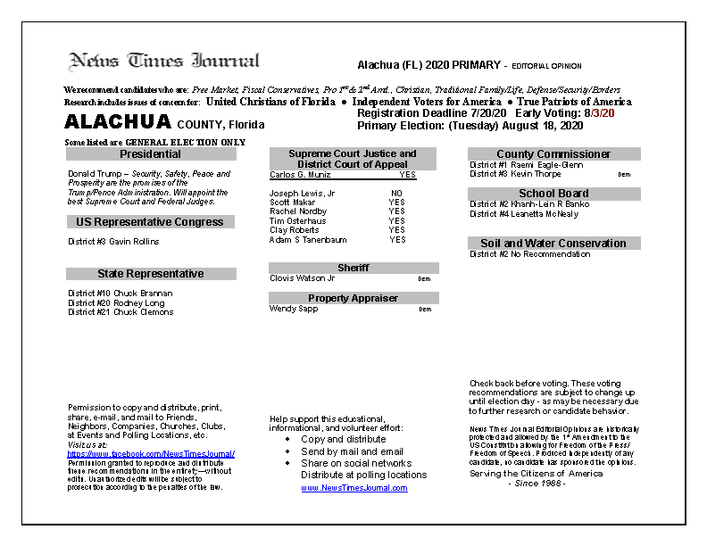 2020 FL Alachua Primary