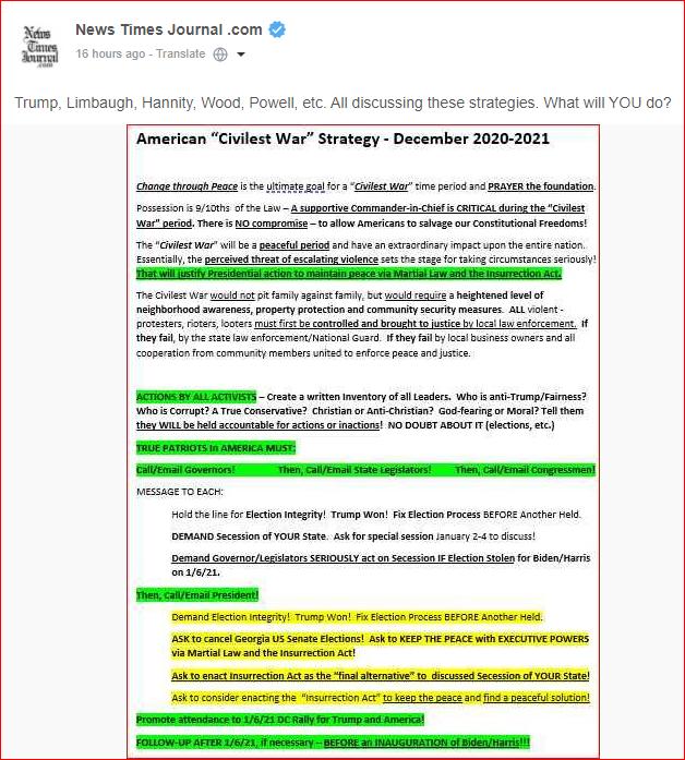 "American ""Civilist War"" Strategy – December 2020 – 2021"