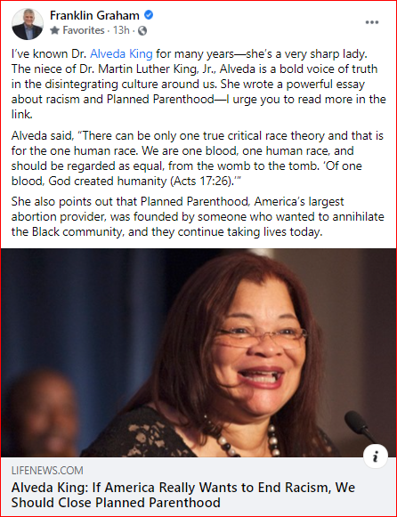 Alveda King: If America Really Wants if End Racism, We Should Close Planned Parenthood by Franklin Graham